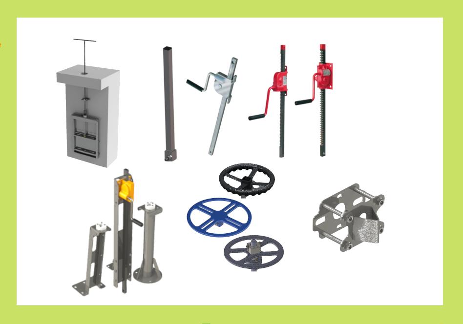 Accessoires pour équipements de réseau d'eau Aquarem-environnement : volants, colonnettes, clés de manœuvre, crics, paliers guides, allonges...