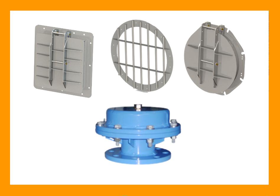 équipements pour protection des réseau d'eau Aquarem-environnement: clapets d'extrémité, grilles, clapets d'entrée d'air...
