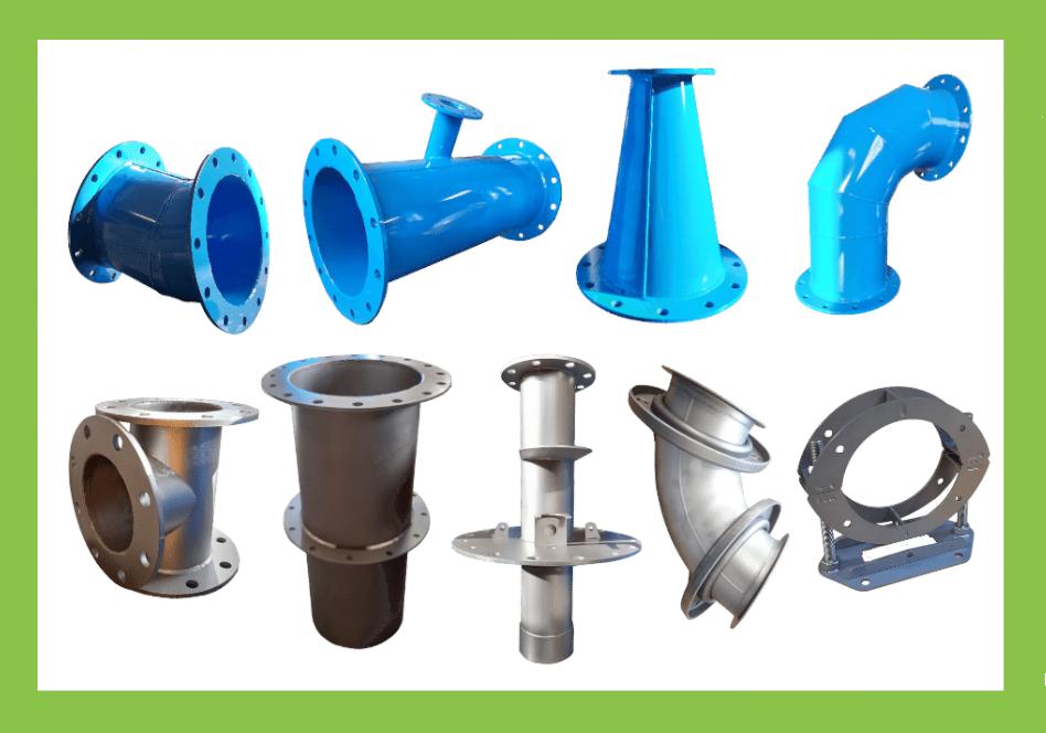 produits raccordement pompage aquarem environnement: tés, manchettes, cônes, colliers, têtes de forage, coudes spéciaux...